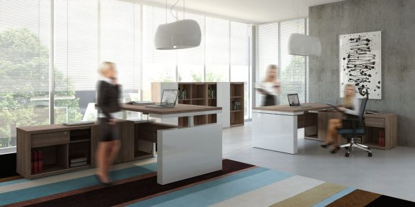 Mito Height Adjustable Executive Office Desk with Storage